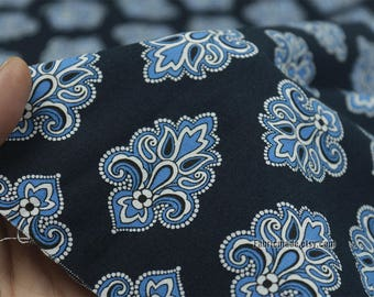 Floral Fabric, Blue Flower On Navy Blue fabric, Rustic Fabric, Modernist fabric- 1/2 Yard
