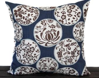 Pillow, Throw Pillow, Pillow Cover, Cushion, Decorative Pillow, navy blue brown tan white, Aiko Regal Blue Slub Canvas
