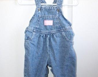 Vintage Blue Jean OshKosh Bib Overalls . Baby Girl's Denim Vestbak Overall Pants Dungarees . Baby B'gosh . Size 6/9 Months
