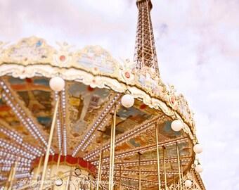 Eiffel tower photograph Paris carousel photo Paris photo Merry go around print nursery room art Paris square photo gift under 50