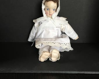 Small vintage bisque Doll porcelain cloth body