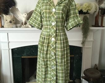 "50s Plaid with Gold metallic Cotton Dress 36"" waist"
