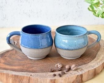 Colorful Ceramic mugs set of two, 2 coffee mug set, Pottery mug set, Rustic Ceramic Mug, Stoneware Tea mug, Mother's Day Gift