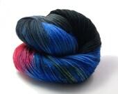 Yarn - Hand painted Sock yarn  - Sock Yarn Fingering -  orange, pink, black, greenblue, grey, blue - knitting shawl - hand dyed yarn - OOAK