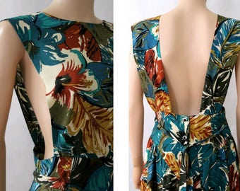1990 Floral Dress open back size10 /90s summer dress open back 10
