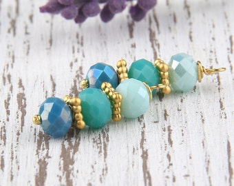 Teal, Ombre Bead Dangles, Crystal Bead Dangles, 2 pieces //BD-041
