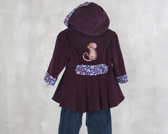 Girls Easter Jacket with Peplum Size 2 Embroidered Paisley Mouse Plum Purple Corduroy Hooded Coat Spring Fall  Back To School Ready To Ship