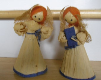 Vintage Ornaments - Two Corn Husk Angels, Made in Japan, Holt Howard Angels, 1960s Choir Angels, Holiday Decor
