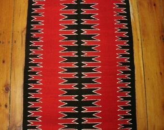 vintage maroon & black geometric navajo rug, mid century mexican navajo rug, 32x60