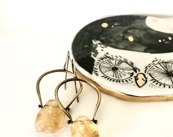 Citrine Earrings Gold Brass November Birthstone Dangles Silver Pinned Stones Yellow Gemstone Faceted Nugget Metalsmith Jewelry
