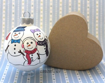 Snowmen Family Ornament MADE TO ORDER Custom Hand Painted Christmas Glass Bauble Family Ornament Family Gift Unique Family Portrait
