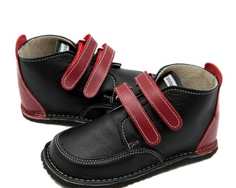 Black leather shoes,red details,leather lining,Vibram sole,velcro fastening/laces,support barefoot walking,sizes EU 21 to 31-US 6 to 12.5