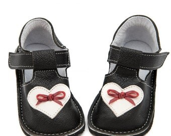Black Toddler Leather Shoes,heart,leather lining,Vibram sole,velcro fastening, support barefoot walking,sizes EU 16 to 24 - US 2 to 7.5