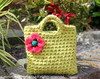 Crochet patterns for girls, flower bag pattern - Listing106