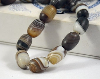 Barrel bead Scrub Coffee Color Agate Beads ----- 13mm x18mm ----- 22Beads, Agate beads