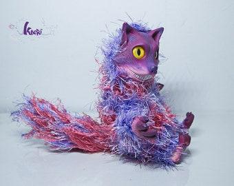 Cheshire cat Alice in wonderland OOAK - RESIN, hairy wool - By Kaori