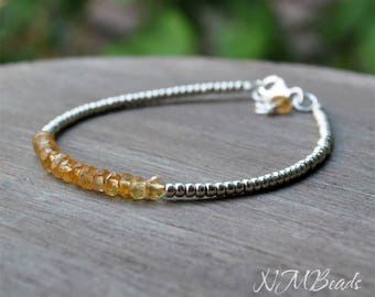 Delicate Citrine Beaded Bracelet With Silver Tone Seed Beads Thin Skinny Simple Jewelry Yellow Birthstone Stacking Bracelet Gift For Her