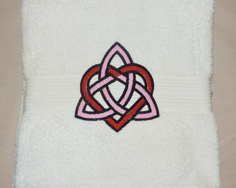 RTS Triquetra  Embroidered Bath Towel Wicca witchcraft Bathroom Trippe goddess Pagan spirituality Ready to ship