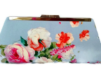Baby Blue floral wedding clutch/Something blue/Romantic wedding/Summer  Evening clutch/ Gift for her/ Cottage Wedding clutch