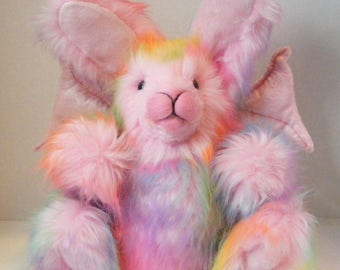 Plush Gothbunny Stuffed Bunny OOAK Fantasy Art Doll Plush Rabbit Easter Bunny Pink Rainbow