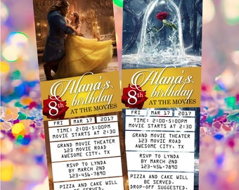 Beauty and the Beast 2017 Film Movie Ticket Invitation Invite - Printable Personalized Digital file