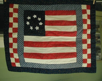 Vintage Pillow Shams, Patriotic American Flags, Pieced Patchwork, Hand Quilting, Standard Bed Size, Old Glory, Red, White, and Blue