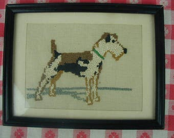 """Vintage Embroidered Picture of Terrier Dog, Small Framed """"Picture"""", 8 1/2 x 7"""", For the Dog Lover, Hand Embroidered, One of A Kind"""