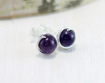 Amethyst Stud Earrings, Sterling Silver Dark Purple Amethyst Earrings Wire Wrapped February Birthstone Amethyst Post Earrings