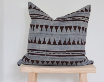 blue grey african mudcloth with brown arrows pattern