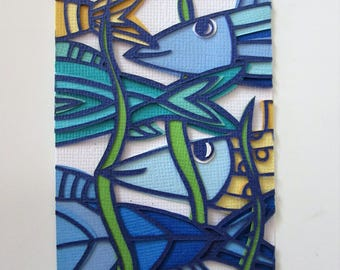 ACEO Papercut art original blue and yellow fish in the sea