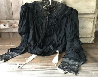 French Black Silk Blouse, Chantilly Lace Blouse, Bodice, Haute Couture Paris
