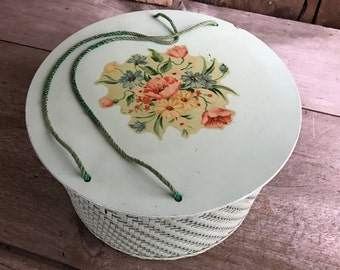 1940s Wicker Floral Sewing Basket by Harvey, Sewing Notions Basket, Carry Handles, Spring Flowers