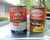 Vintage Coffee tins and one nut tin  - all 1# vintage cans