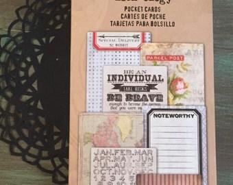 Tim Holtz Cards / 100 Pocket Cards Journal Cards Great for Mixed Media, Altered Art, Smash Books, Journals, etc