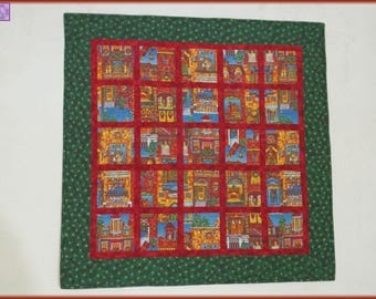 Holiday Wall Hanging Quilted Table Topper Quilt Christmas Village 517