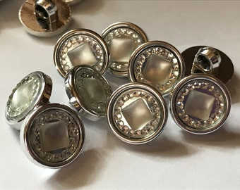 10 acrylic silver color shank buttons, 13 mm ( 39)