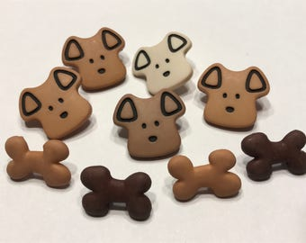 9 piece dog face and more button mix, 18-20 mm (29)