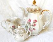 SALE-- vintage tea set porcelain tea set mismatched tea set floral tea set german teapot vintage coffee pot