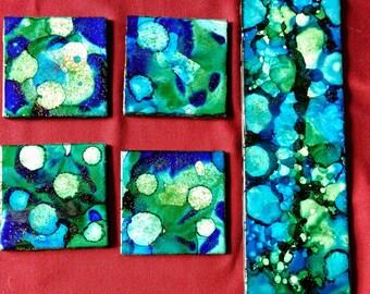 4 Blue/Green Alcohol Ink Ceramic Tile Coasters plus Trivet Set