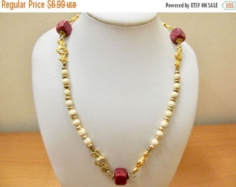 On Sale Vintage Cream and Red Beaded Necklace Item K # 1432