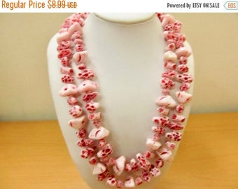 On Sale Vintage Red Speckled Textured Double Strand Beaded Necklace Item K # 1390