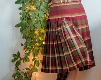 1950s Reversible Vintage Plaid Pleated Skirt