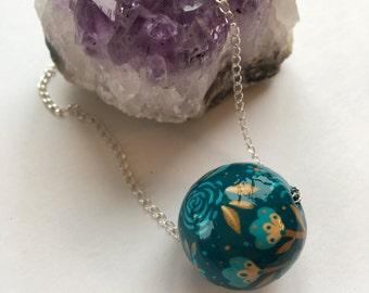 Teal folk art pendant necklace