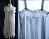 Lingerie 1920's, Slip dress white, lace, cotton veil.
