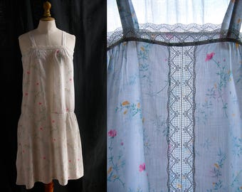 Cotton slip, hand-stitched, floral pattern, Lingerie 1920's style