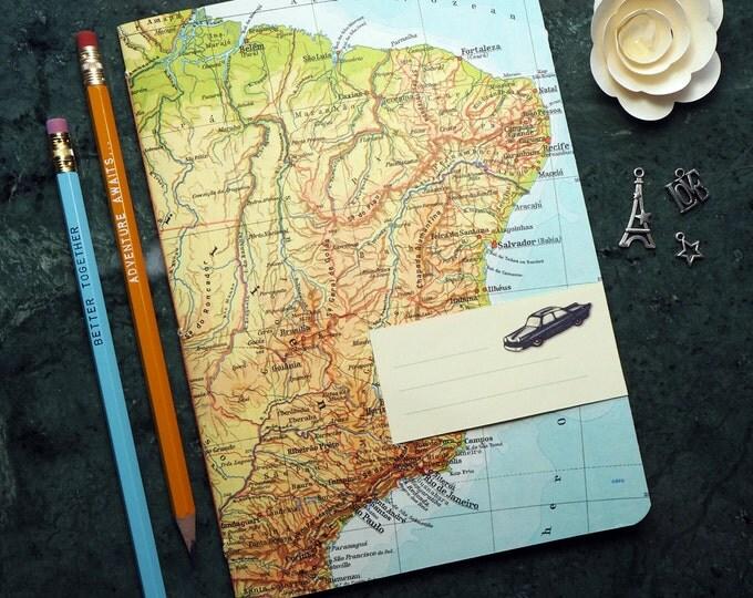 TRAVEL JOURNAL South America, Brasil, Rio de Janeiro, 5,7x8,2inch, 40 p. RULED travel journal, diary, notebook, atlas, map, vintage, 139