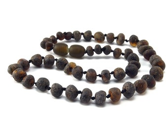Amber Baltic Necklace Toddler Child Teething Baby Unpolished Rounded Dark Beads