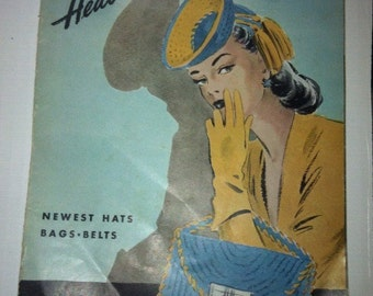 "SALE Fun vintage ""Headliners"" knitting book, 1944, Hats, Bags, Belts, patterns, great graphic cover, BW photos, full instructions"