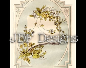 Instant Digital Download, Victorian Era Graphic, Pastel Floral Label, Antique Printable Image, Scrapbook, Country Garden, Easter, Spring