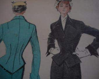 Vintage 1950's Butterick 5434 Suit Dress Sewing Pattern, Size 14 Bust 32